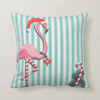 Fancy Flamingo Ready for Christmas Throw Pillow