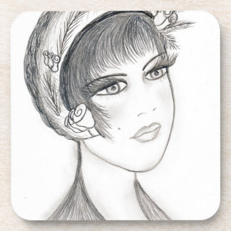Fancy Flapper - Black and White Beverage Coaster