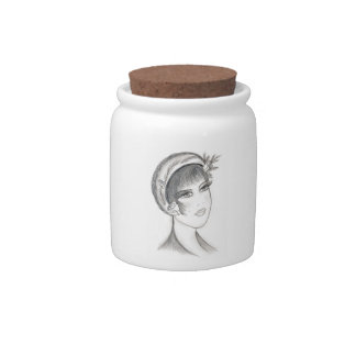 Fancy Flapper - Black and White Candy Jar