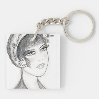 Fancy Flapper - Black and White Keychain
