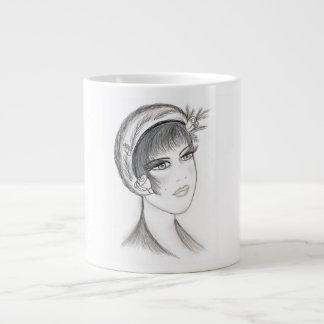 Fancy Flapper - Black and White Large Coffee Mug