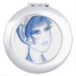 Fancy Flapper in Blue Makeup Mirror