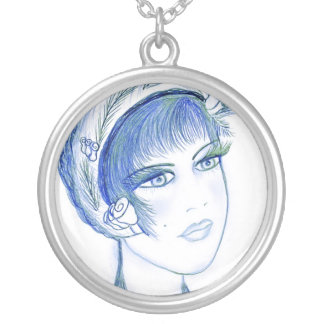 Fancy Flapper in Blue Personalized Necklace