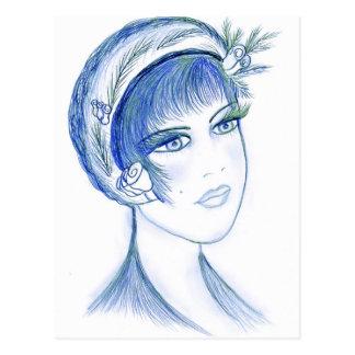 Fancy Flapper in Blue Postcard