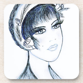 Fancy Flapper in Blues and Black Beverage Coasters