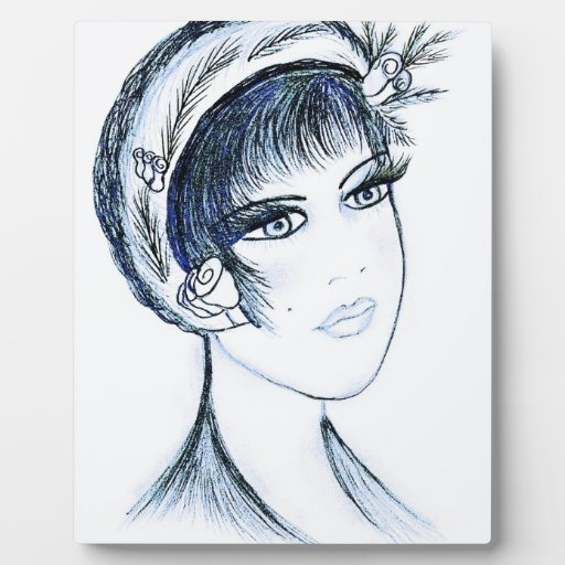 Fancy Flapper in Blues and Black Photo Plaques
