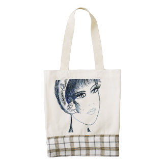 Fancy Flapper in Blues and Black Zazzle HEART Tote Bag