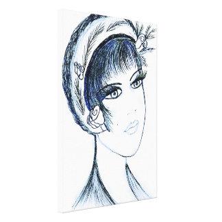 Fancy Flapper In Blues Canvas Print