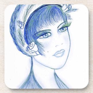 Fancy Flapper in Blues & Green Beverage Coasters