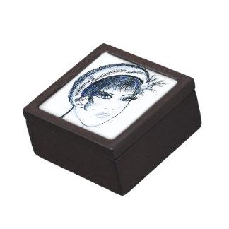 Fancy Flapper in Blues & Green Keepsake Box