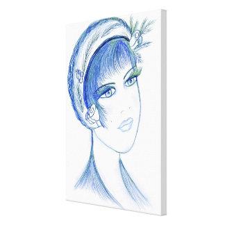 Fancy Flapper in Light Blues Canvas Print