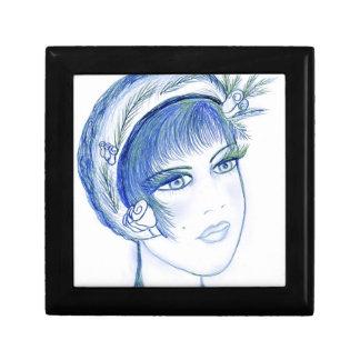 Fancy Flapper in Light Blues Jewelry Box