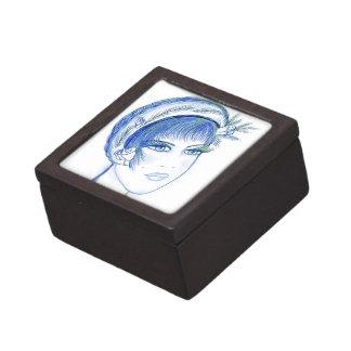 Fancy Flapper in Light Blues Keepsake Box