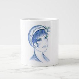 Fancy Flapper in Light Blues Large Coffee Mug