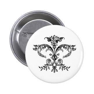 Fancy Fleurish BW 2 Inch Round Button