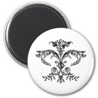 Fancy Fleurish BW 2 Inch Round Magnet