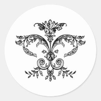 Fancy Fleurish BW Classic Round Sticker