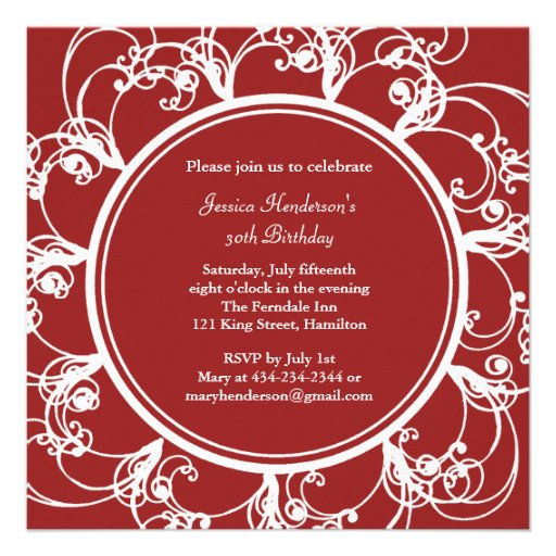 Fancy Floral Birthday Invite (red)