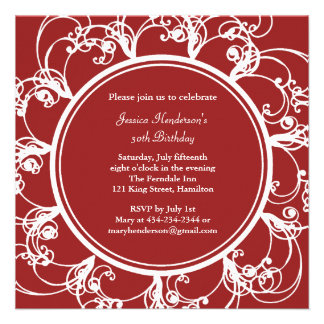 Fancy Floral Birthday Invite red
