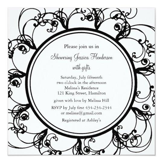 Fancy Floral Bridal Shower Invitation (bl/wh)