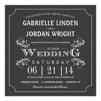 Fancy Floral Chalkboard Wedding Invitations