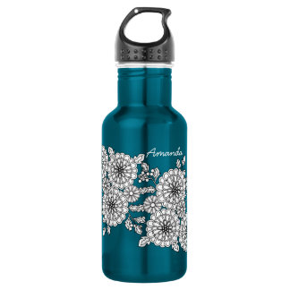 Fancy Floral Chic Personalized Water Bottle