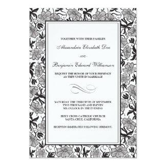 Fancy Floral Ebony Wedding Invitation