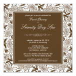 """Fancy Floral Grand Opening Invitation (chocolate) 5.25"""" Square Invitation Card"""