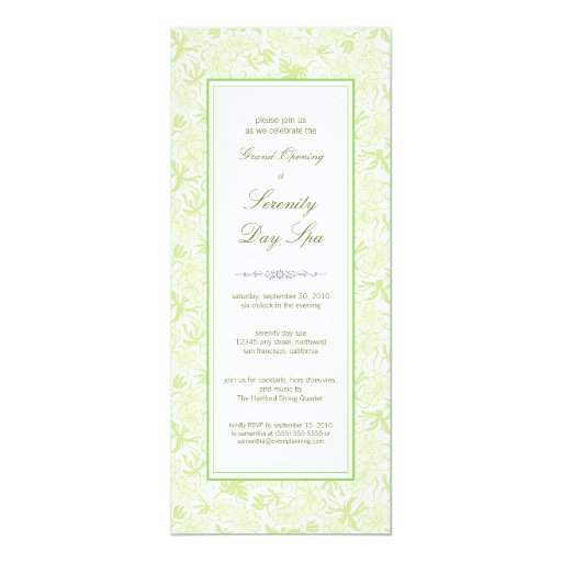 Fancy Floral Grand Opening Invitation (sage)