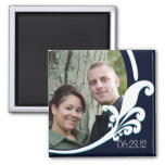 Fancy Floral Navy White Customized Magnet 2x2 Magnet