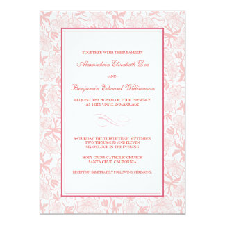 Fancy Floral Pale Pink Wedding Invitation