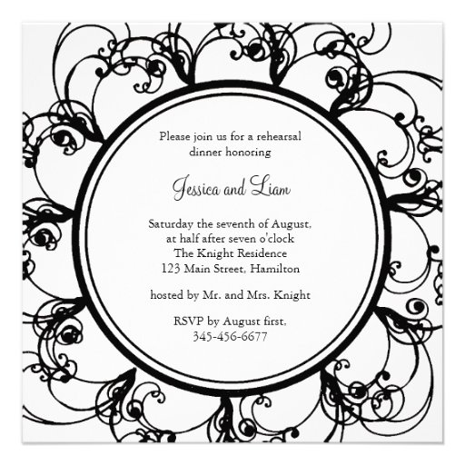 Fancy Floral Rehearsal Dinner Invitation (bl/wh)