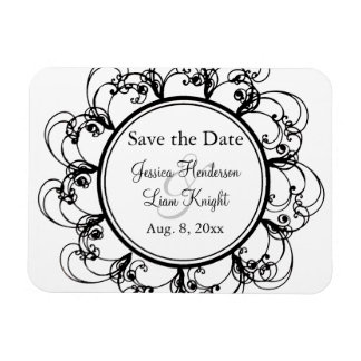 Fancy Floral Save the Date Magnet (black/white)