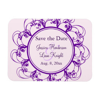 Fancy Floral Save the Date Magnet (purple)