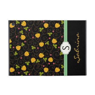 Fancy Floral Swirls Monogram Folio Case For iPad Mini