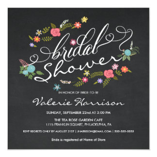 Fancy Floral Wreath Chalkboard Bridal Shower Card