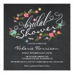 Fancy Floral Wreath Chalkboard Bridal Shower Announcements