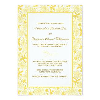 Fancy Floral Yellow Wedding Invitation