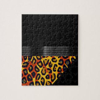 Fancy Florescent Yellow Orange Cheetah Jigsaw Puzzle