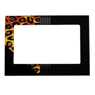 Fancy Florescent Yellow Orange Cheetah Magnetic Picture Frame