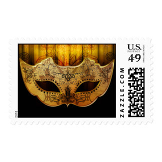 Fancy Flourish Gold Masquerade Postage Stamps