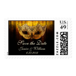 Fancy Flourish Gold Masquerade Save the Date Stamp