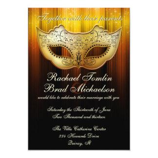 """Fancy Flourish Gold Masquerade Wedding Invite 5"""" X 7"""" Invitation Card"""