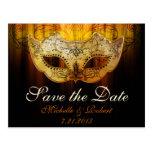 Fancy Flourish Gold Masquerade Wedding Save the Da Post Card