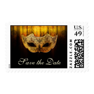 Fancy flourish Masquerade Save the Date Postage