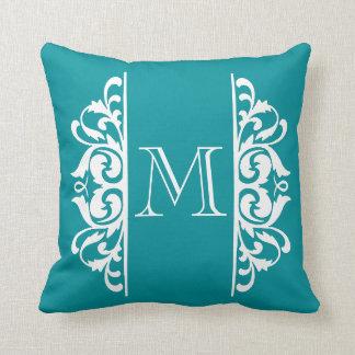Fancy Flourish Monogram CHOOSE A BACKGROUND COLOR Pillow