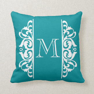 Fancy Flourish Monogram CHOOSE A BACKGROUND COLOR Throw Pillow