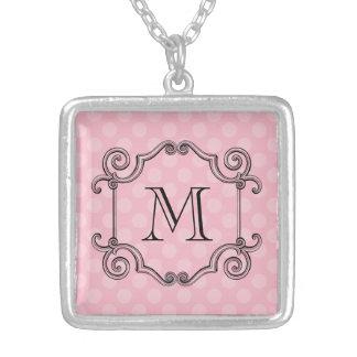 Fancy Flourish Monogram Choose Color Silver Plated Necklace