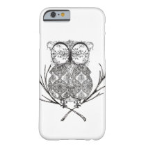 Fancy Flourish Owl Black and White Barely There iPhone 6 Case