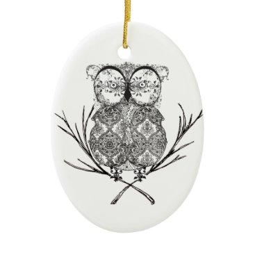 Beach Themed Fancy Flourish Owl Black and White Ceramic Ornament